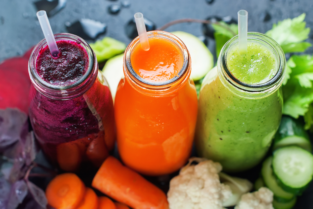 Fresh Juice Smoothie Color Vegetables Bottles
